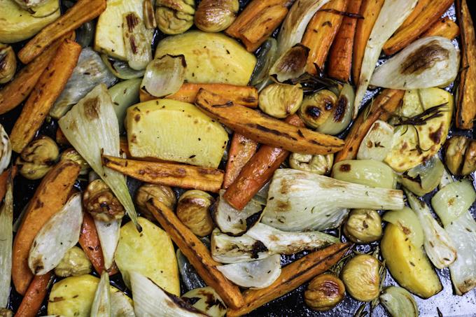 Herbstliches Ofengemüse mit Maronen
