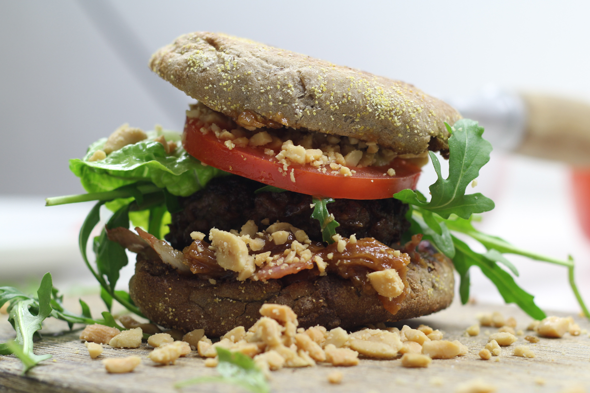 Bacon Honey Peanut Crunch Burger